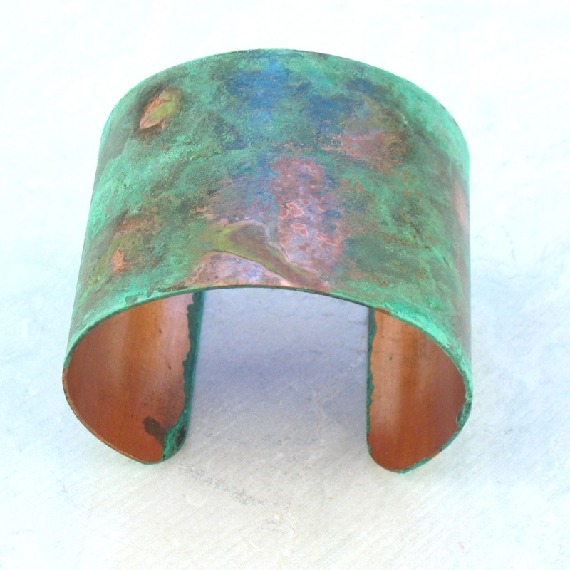 Green patina copper cuff bracelet