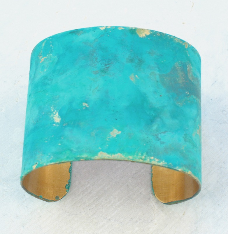 Blue patina brass cuff bracelet